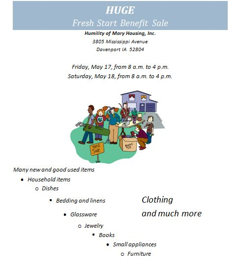 Fresh Start Sale flier