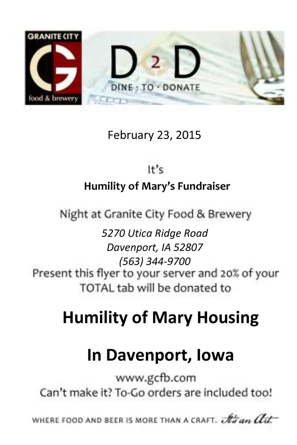 dine to donate flier