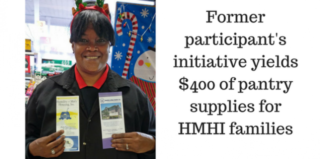 Former participant leads drive to collect pantry items for HMHI families